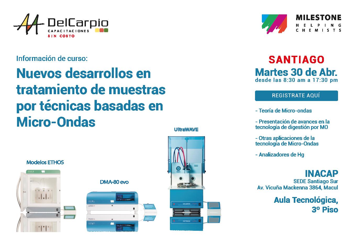 Santiago – 30 Abril 2019 – Nuevos desarrollos en tratamiento de muestras por técnicas basadas en Micro-Ondas