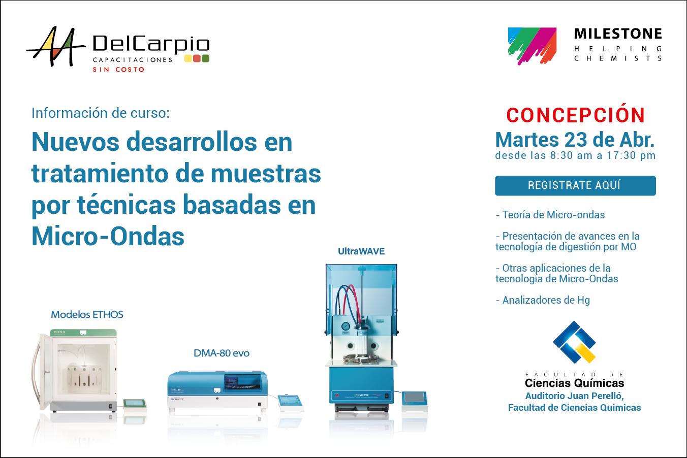 Concepción – 23 Abril 2019 – Nuevos desarrollos en tratamiento de muestras por técnicas basadas en Micro-Ondas
